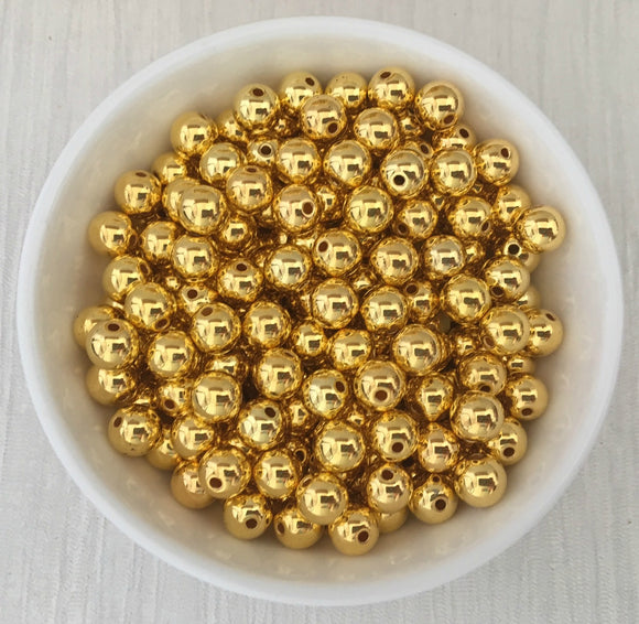 Acrylic Bead CCB Bright Gold 8mm 100 Pieces