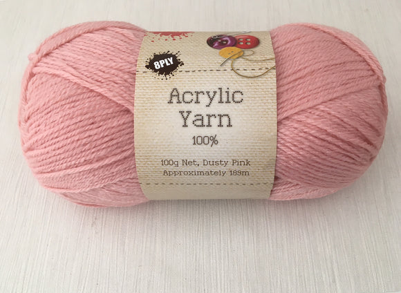 Portacraft Yarn Acrylic 100% 8 Ply 100g Dusty Pink (Approx. 189m)