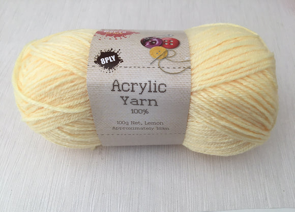 Portacraft Yarn Acrylic 100% 8 Ply 100g Lemon (Approx. 189m)