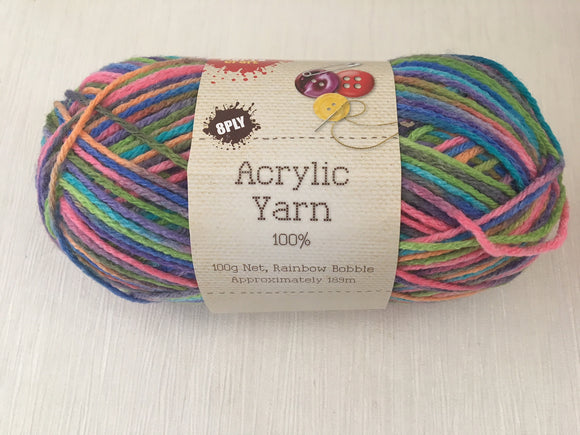 Portacraft Yarn Acrylic 100% 8 Ply 100g Multi Rainbow Bobble (Approx. 189m)