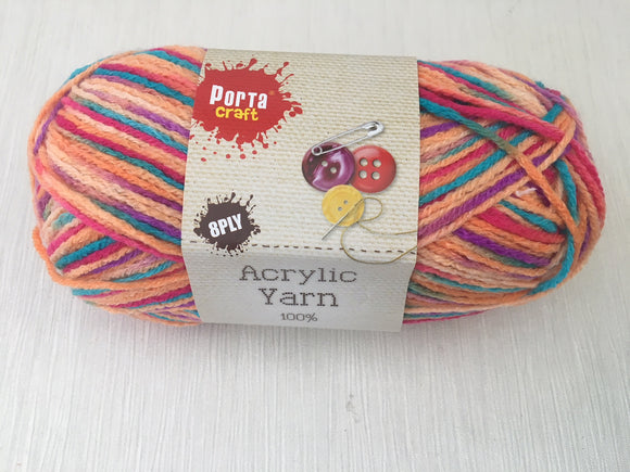 Portacraft Yarn Acrylic 100% 8 Ply 100g Multi Rainbow Fruit Loops (Approx. 189m)