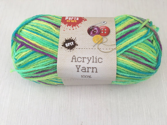 Portacraft Yarn Acrylic 100% 8 Ply 100g Multi Rainbow Green (Approx. 189m)