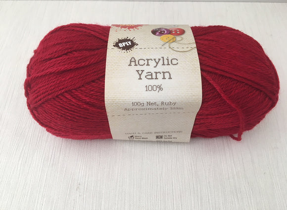 Portacraft Yarn Acrylic 100% 8 Ply 100g Ruby (Approx. 189m)