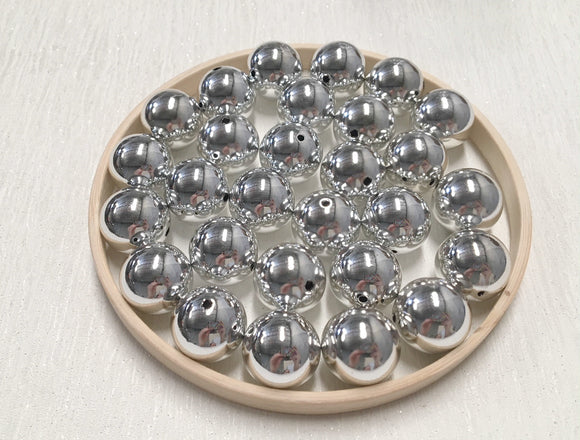 Acrylic Bead 20mm Solid Colour Round Bright Silver (01)