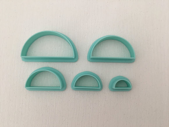 3D Printed Polymer Clay Cutter - Half Circle 5 Piece Set