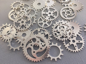 Charm Gear Cog Metal Alloy Silver 10PC Pack
