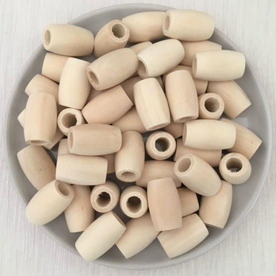 30mm x 19mm Oval Wood Natural Bead
