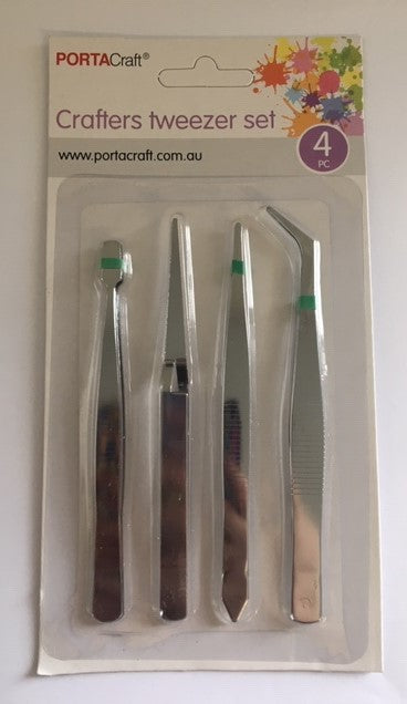 Portacraft Crafters Tweezer Set 4PC
