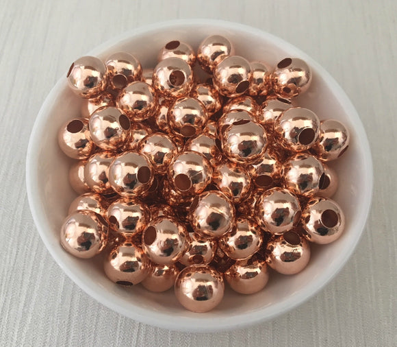 Metal Alloy Bead 12mm Rose Gold Large Hole