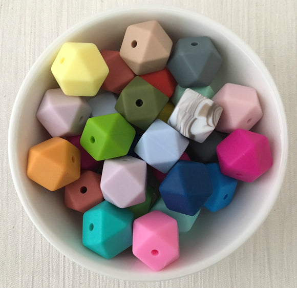 14mm Hexagon Silicone Bead 12 Piece Pack