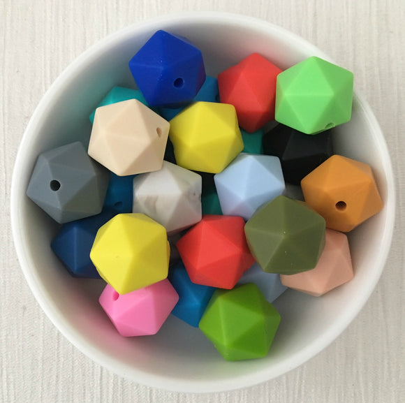 14mm Icosahedron 20 Point Silicone Bead 12 Piece Pack