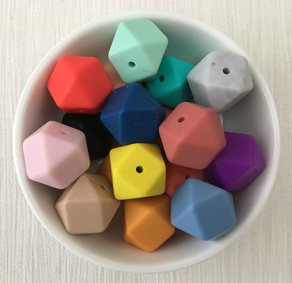 17mm Hexagon Silicone Bead 12 Piece Pack