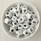 12mm Cube Silicone Bead - Letter/Number/Heart/Star