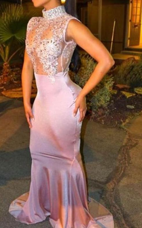 2018ed35bb71 2017 Elegant Mermaid Prom Party Dresses High Neck Pearls Sleeveless  Lace-Appliques Cutaway Side Crystal
