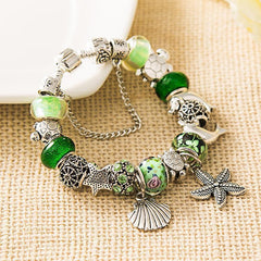 2017 Green Sea Turtle Charm Bracelet with Dolphins, Turtles, Shells, and Starfish