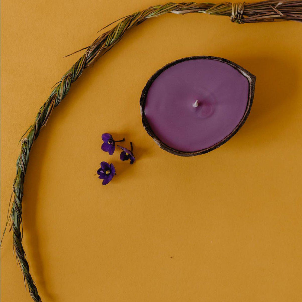sweetgrass and violet candle