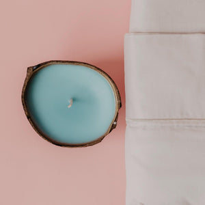 washed linen candle