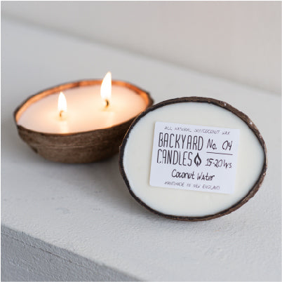 Double Wick Coconut Shell Candle