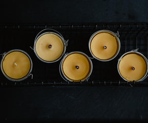 pure beeswax candles with wood wicks
