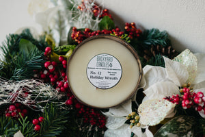 holiday wreath candle