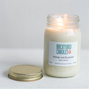 essential oil candle in recycled glass