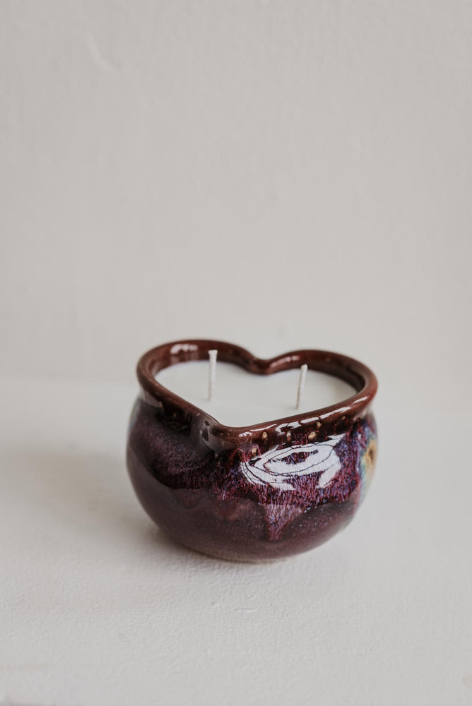 ceramic heart shaped candle