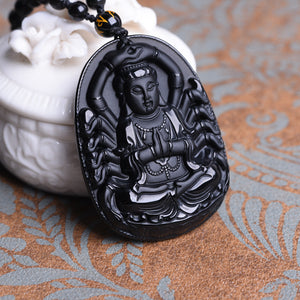 Natural Black Obsidian Carved Buddha Pendant Necklace