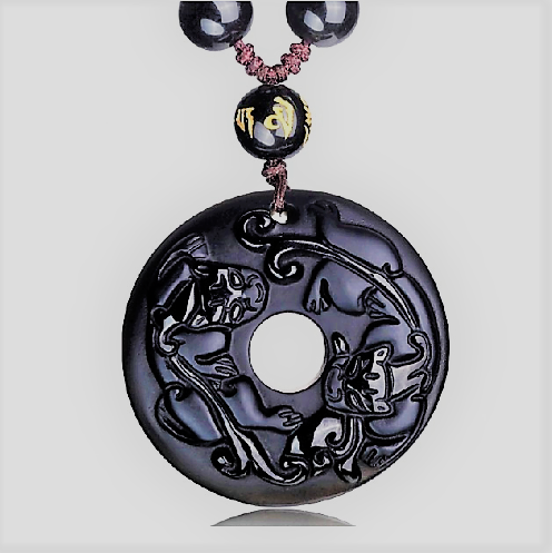 Natural Black Obsidian Hand Carved Chinese Double Dragon Pendant Necklace
