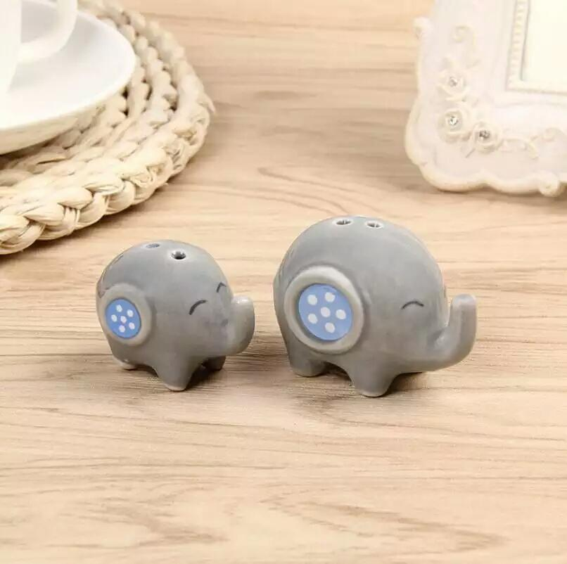 Mommy and Me Ceramic Elephant Salt and Pepper Shakers Baby Shower Favours - Blue - AUSTRALIAN FAVORS