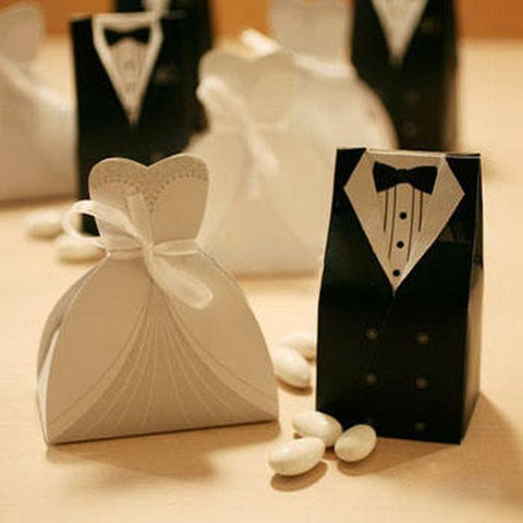 Aristocrat Bride White Gown Wedding Bomboniere Box (Satin Ribbon) - 20 Pcs - AUSTRALIAN FAVORS
