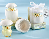 """About to Hatch"" Ceramic Baby Chick Salt & Pepper Shakers Baby Shower Bomboniere"