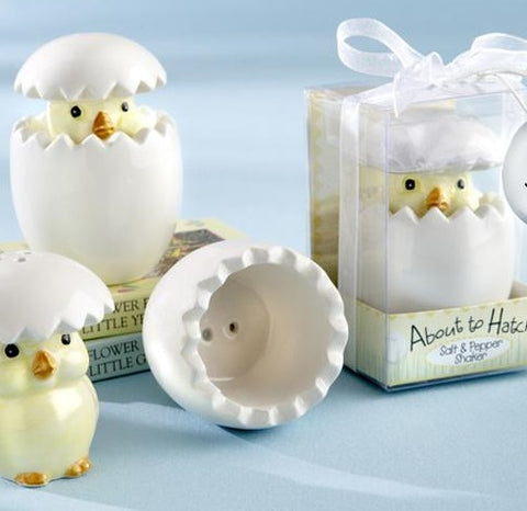 """About to Hatch"" Ceramic Baby Chick Salt & Pepper Shakers Baby Shower Bomboniere - AUSTRALIAN FAVORS"