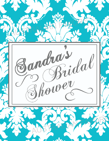 Damask Bridal Shower Tea Bags Personalised Favour -  Teal Blue
