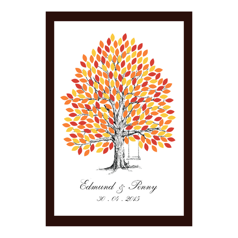 Infinity of Four Seasons Tree Personalised Wedding Guest Book Alternative Poster - Golden Autumn