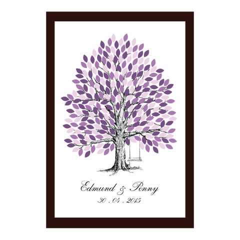 Infinity of Four Seasons Tree Personalised Wedding Guest Book Alternative - Purple Jacaranda Spring - AUSTRALIAN FAVORS