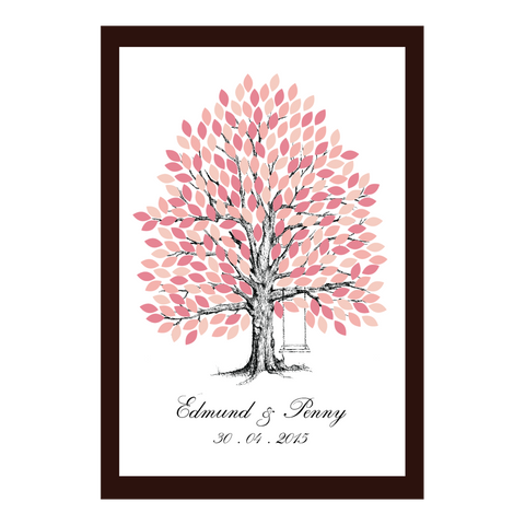 Infinity of Four Seasons Tree Personalised Wedding Guest Book Alternative - Pink Magnolia Spring