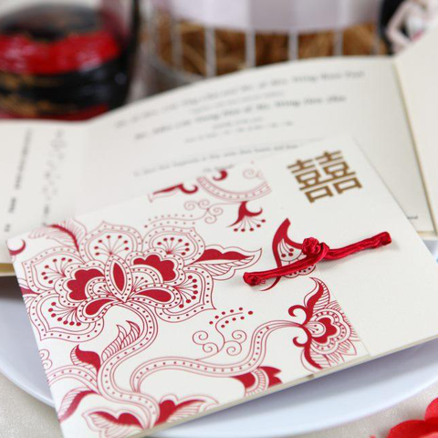 Beauty of the Far East Modern Chinese Wedding Invitation