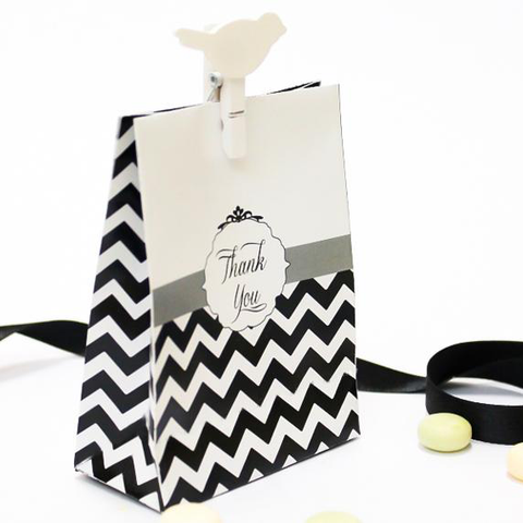 Black Chevron Customized Wedding Party Favour Bags in White Handles - 10 Pack - AUSTRALIAN FAVORS