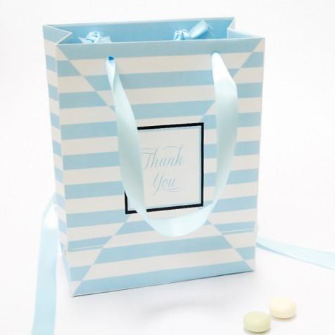 Blue Stripes Wedding Party Gift Favour Bags in White Rope Handle - 10 Pack - AUSTRALIAN FAVORS