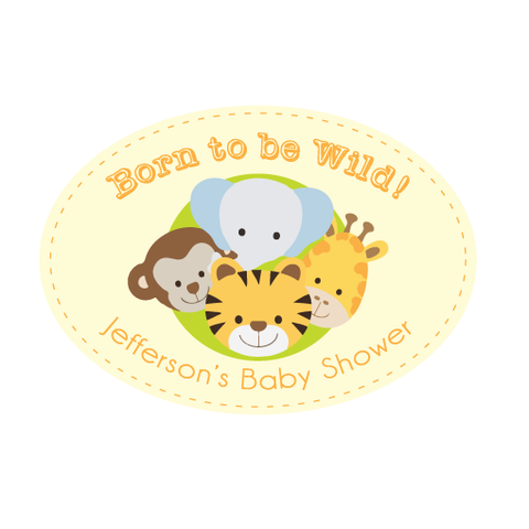 Born to be Wild Animal Jungle Safari Personalised Envelope Seal Baptism Decoration - AUSTRALIAN FAVORS