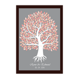 Coral Pink Tree Personalised Garden Framed Wedding Guest Book Poster - AUSTRALIAN FAVORS