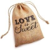 Love is Sweet Burlap Hessian Drawstring Rustic Vintage Wedding Favour Bag (Packs of 10) - AUSTRALIAN FAVORS