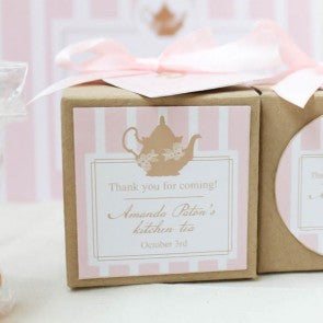Lady Pink Kitchen Tea Bridal Shower Square Thank You Favour Sticker Tag