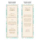 Olivia Classic Floral Wedding Reception Individual Menu Card - AUSTRALIAN FAVORS