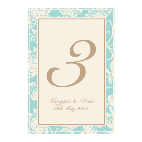 Olivia Classic Floral Wedding Table Number Stationery