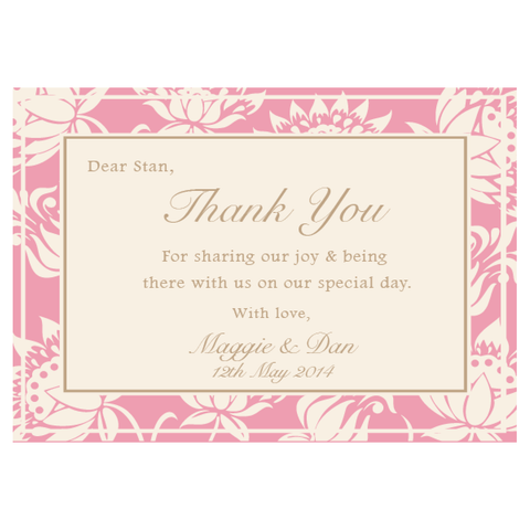 Olivia Classic Floral Wedding Thank You Card - AUSTRALIAN FAVORS