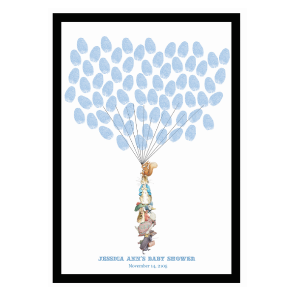 Peter Rabbit: Blue Baby Shower 1st Birthday Personalised Guest Book Alternative with Frame - AUSTRALIAN FAVORS