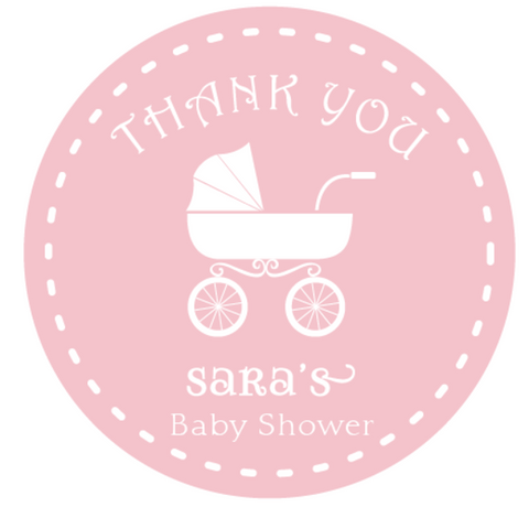Pink Baby Pram Girl's Baby Shower Customized Round Thank You Favour Sticker