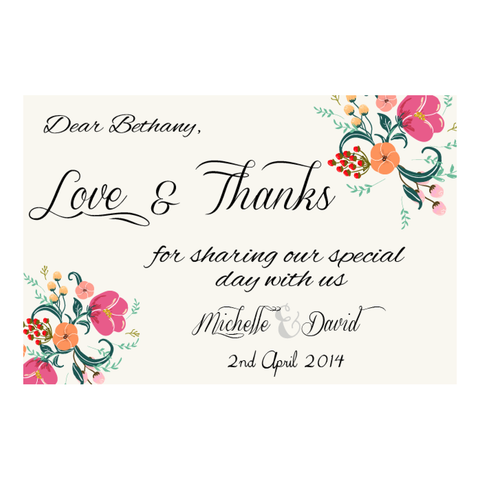 Pretty in Peach Botanica Wedding Thank You Card - AUSTRALIAN FAVORS