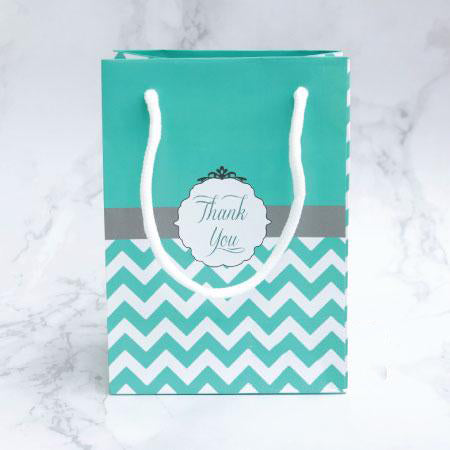 Tiffany Blue Chevron Wedding Party Lolly Gift Favour Bags - 10 Pack